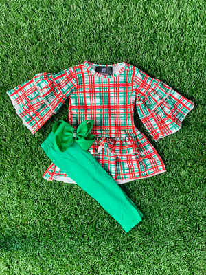 Bowtism Exclusive Holiday Plaid Pants Set with Matching Bow