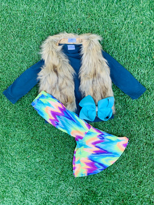 Bowtism Faux Fur Vest Pants Set with Matching Bow