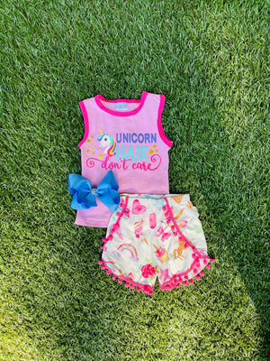 Bowtism Unicorn Hair Don't Care Shirts Set with Matching Bow