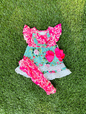 Bowtism Sydney Capri Set With Matching Bow