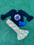 Bowtism Flower Power Flare Pants Set with Matching Bow