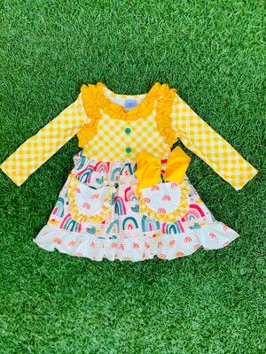 Bowtism Gingham & Rainbow Dress with Matching Bow