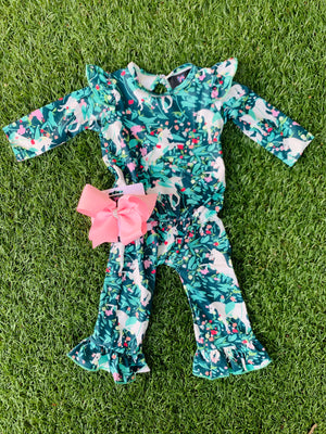 Bowtism Exclusive Unicorn Romper with Matching Bow