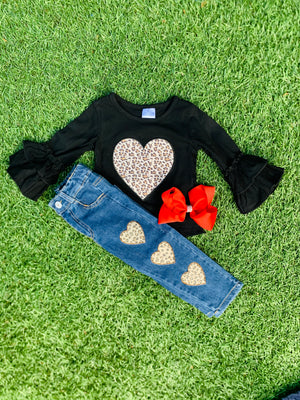 Bowtism Denim Love & Hearts Pants Set with Matching Bow