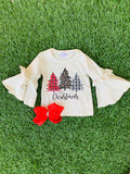 Bowtism Holiday Tiered Ruffle Shirt with Matching Bow