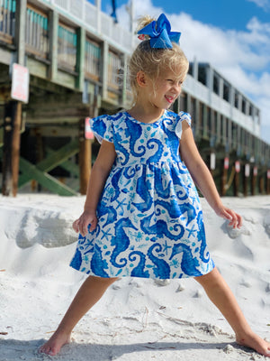 Bowtism Exclusive Seahorse Flutter Dress with Matching Bow