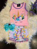 Bowtism Purple Floral Unicorn Shorts Set with Matching Bow