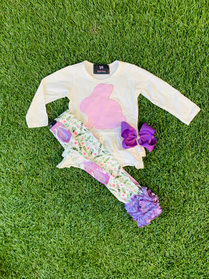 Bowtism Exclusive Floral Bunny Pants Set with Matching Bow