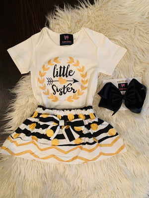 Bowtism Little Sister Skirt Set with Matching Bow
