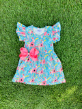 Bowtism Floral Fantasy Dress with Matching Bow