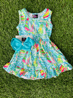 Bowtism Yacht Life Stretch Dress with Matching Bow