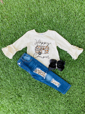 Bowtism Happy Camper Denim Set with Matching Bow