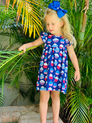 Bowtism Red White Blue Cupcake Dress with Matching Bow