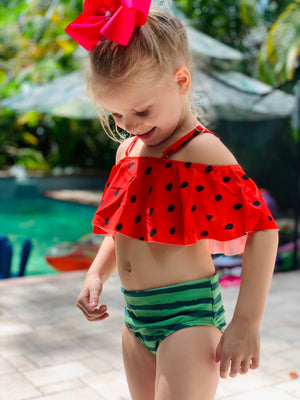 Bowtism Watermelon Slice Swim Suit with Matching Bow