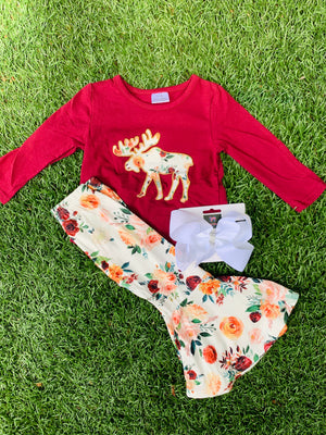 Bowtism Floral Moose Flare Pants Set with Matching Bow