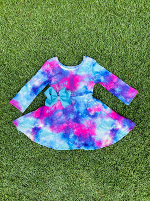Bowtism Galaxy Twirl Dress with Matching Bow