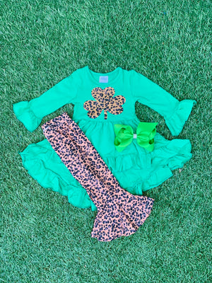 Bowtism St. Patrick Cheetah High Low Pants Set with Matching Bow
