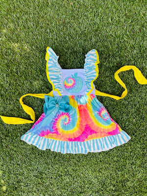 Bowtism Tied Dye School Dress with Matching Bow