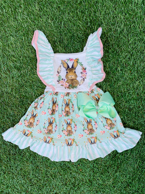 Bowtism Easter Bunny Ruffle Dress with Matching Bow