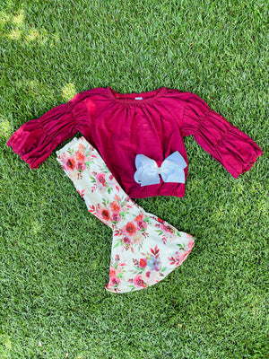 Bowtism Ella Flare Pants Set with Matching Bow