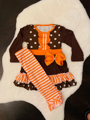 Bowtism Give Thanks Ruffle Pants Set with Matching Bow