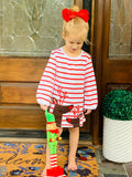 Bowtism Reindeer Holiday Dress with Matching Bow