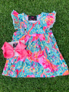 Bowtism Flamingo Summer Flutter Sleeve Dress with Matching Bow