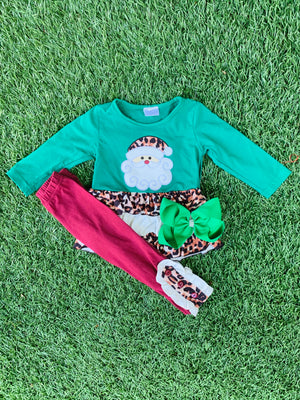 Bowtism Cheetah Hello Santa Pants Set with Matching Bow