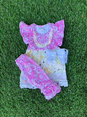 Bowtism Unicorn Lace Capri Set with Matching Bow