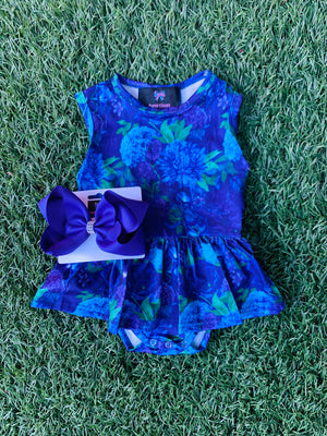 Bowtism Exclusive Dark Floral Tutu Romper with Matching Bow