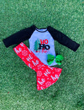 Bowtism Ho Ho Ho Flare Pants Set with Matching Bow