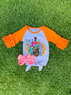 Bowtism Colorful Harvest Shirt with Matching Bow
