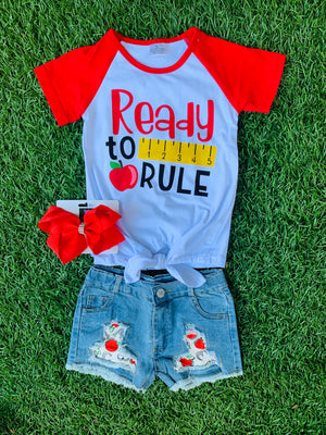 Bowtism Rule The School Denim Shorts Set with Matching Bow