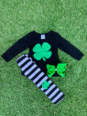 Bowtism St. Patrick Clover Pants Set with Matching Bow