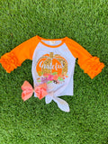 Bowtism Floral Grateful Top with Matching Bow