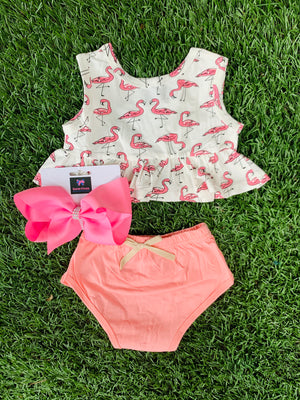 Bowtism Flamingo Bloomer Set with Matching Bow