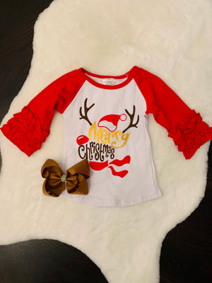 Bowtism Merry Christmas Reindeer Ruffle Shirt with Matching Bow