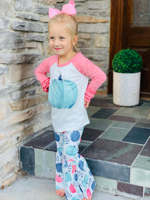 Bowtism Pastel Pumpkin Pants Set with Matching Bow