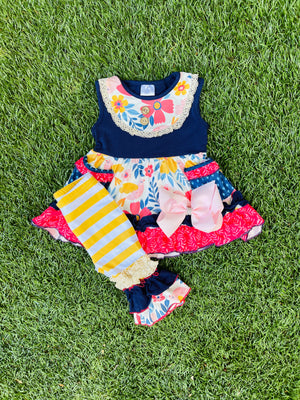 Bowtism Gracie Capri Set with Matching Bow