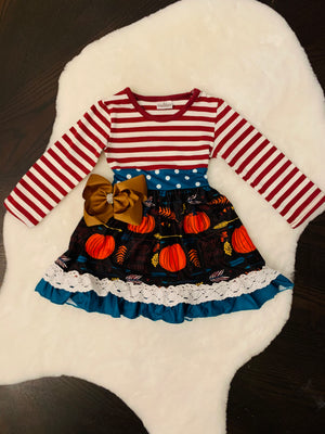 Bowtism Happy Thanksgiving Dress with Matching Bow