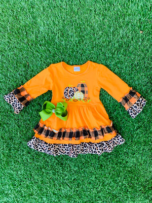 Bowtism Cheetah Layered Dress with Matching Bow