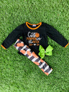 Bowtism Glitter Cutest Pumpkin In The Patch Pants Set with Matching Bow