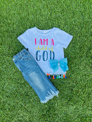 Bowtism Child of God Tassel Denim Set with Matching Bow