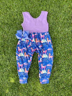 Bowtism Exclusive Unicorn Fabulous Romper with Matching Bow