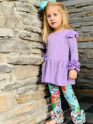 Bowtism Lilac Floral Pants Set with Matching Bow