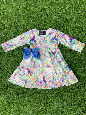 Bowtism Exclusive Unicorn Dream Twirl Dress with Matching Bow