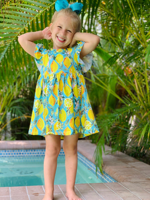 🍋 Lemons Galore Dress with Matching Bow