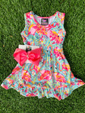Bowtism Fabulous Flamingo Stretch Dress with Matching Bow