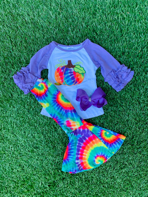 Bowtism Tie Dyed Pumpkin Flare Pants Set with Matching Bow