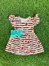 Bowtism Fun Floral Stripped Dress with Matching Bow